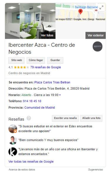 Ficha de Google My Business de Ibercenter Azca